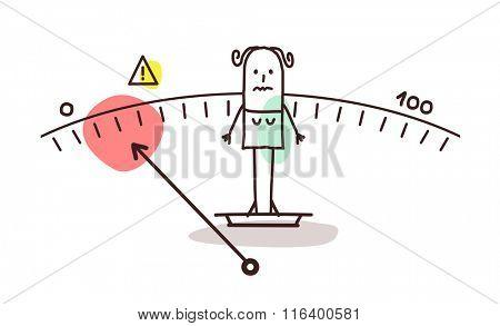 vector cartoon underweight woman