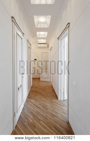 White Coridor  With Doors, In The Apartment