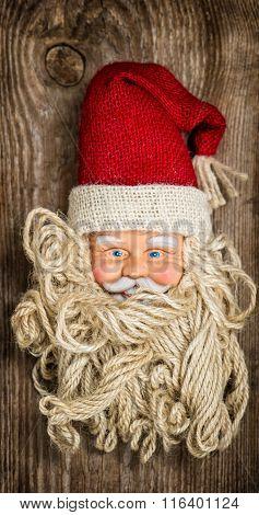 Vintage Santa Claus Toy. Nostalgic Christmas Background