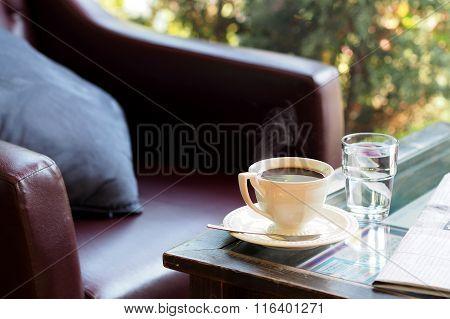 Fresh brew hot coffee taken from coffee shop