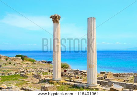 Antique Columns By The Sea In Tharros