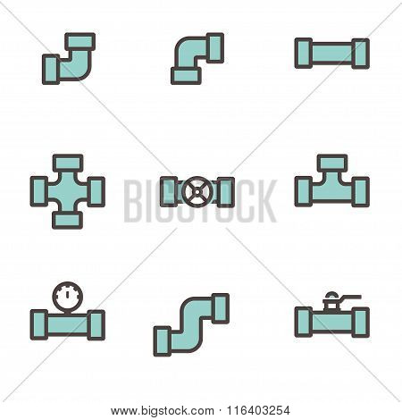 Vector Line Flat Pipe Fittings Icon Set