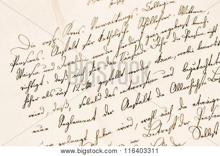 Old letter with undefined handwritten text. Grunge vintage paper texture background