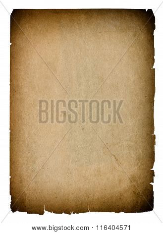 Used paper page texture with dark edges. Vintage cardboard background