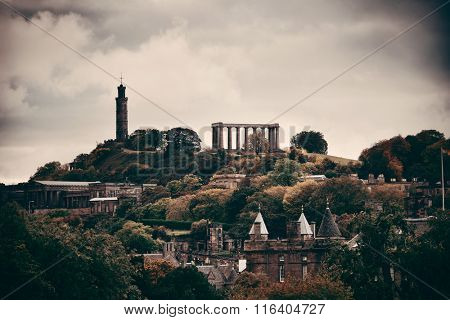Calton hill with historical ruin in Edinburgh, UK.