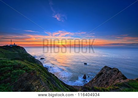 Sunset On The Rocky Coast In Cabo Da Roca, Portugal