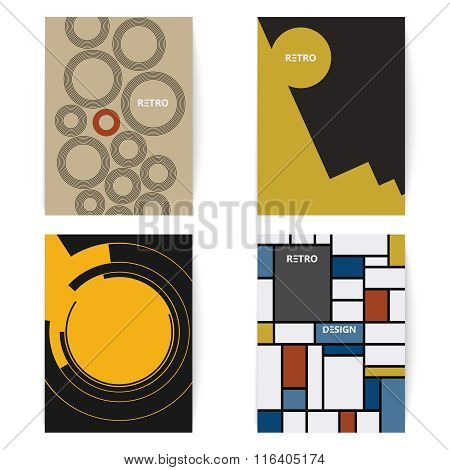 Set of four retro brochures print template in a vintage style. Digital vector illustration.