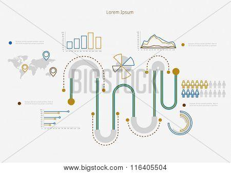 Time line infographic. Vector illustration symbols set.