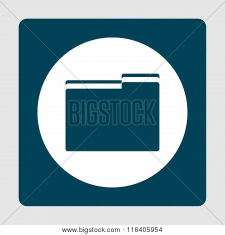 Folder Blue Icon On Button Style Background