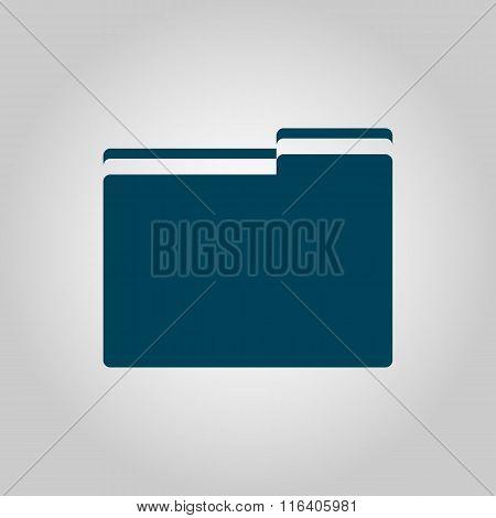 Folder Blue Icon On Grey Background