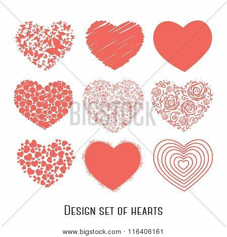 Set of nine stencil hearts for design