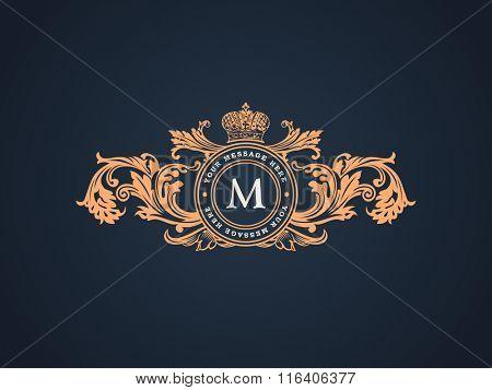 Vintage Decorative Elements Flourishes Calligraphic Ornament. Elegant emblem template monogram luxury frame. Royal line logo. Vector sign for restaurant, boutique, heraldic, fashion, cafe, hotel