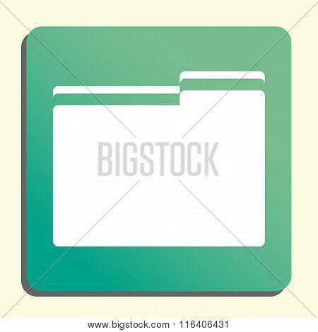 Folder White Icon On Green Button Style Background
