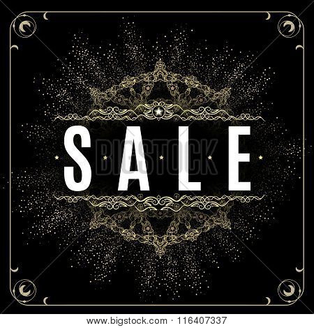 Gold sale background in frame.