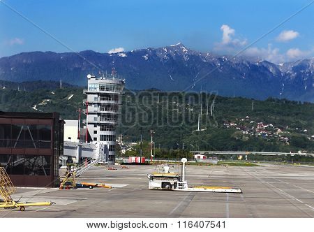 SOCHI  - MAI 17:Air traffic control tower airfield facilities and other technical equipment of the airport  - on Mai 17, 2015 in Sochi