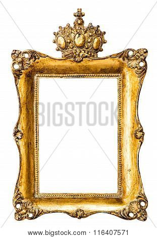 Baroque Golden Picture Frame With Crown. Vintage Object