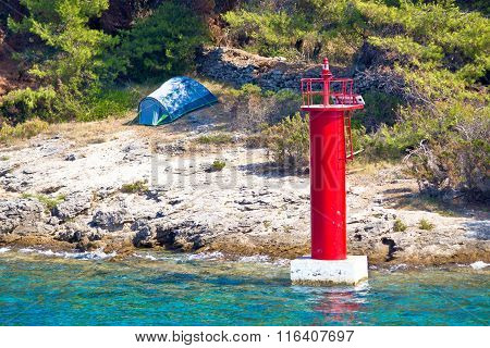 Tent Camping By The Sea And Lantern