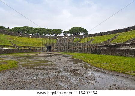 Amphitheatre In Ancient Roman City Of Pompeii, Italy