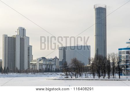 Yekaterinburg Citiscape To Iset Tower In Winter