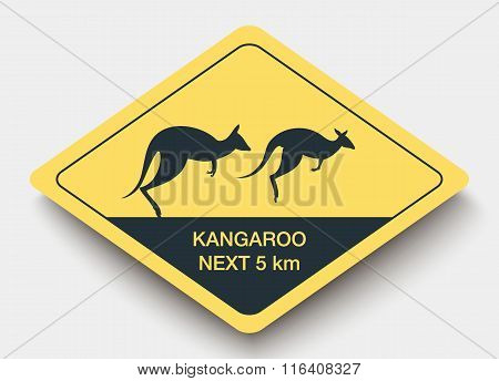 sign attention kangaroo and shadow.