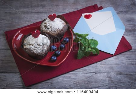 Heart With Two Berry Muffins