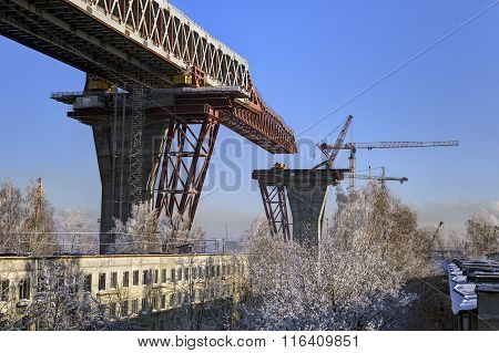 Construction Overpass Superstructure Of Road Bridge Over Apartment House, Russia.