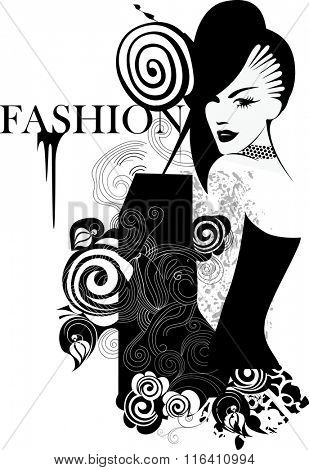 black and white drawing fashion girl