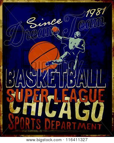 Basketball league flyer or poster perfect for basketball announcements; games; leagues; camps; and