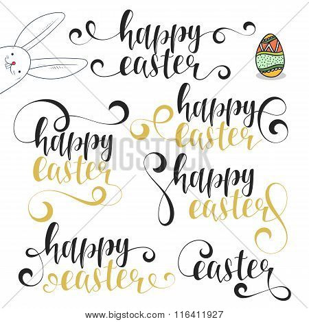 Lettering calligraphy set. Happy easter. Calligraphic phrases Easter with bunny