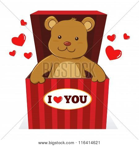 Teddy Bear In A Present Box