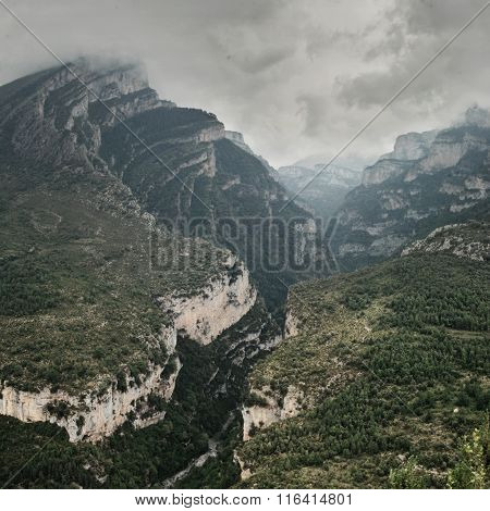 Mountain Valley, Valle De Anisclo, Pyrenees, Spain