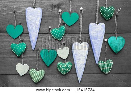 Turquoise Hearts For Valentines Daecoration, Black And White Image