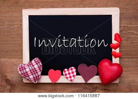 Blackboard With Textile Hearts, Text Invitation