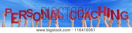 Many People Hands Holding Red Word Personal Coaching Blue Sky