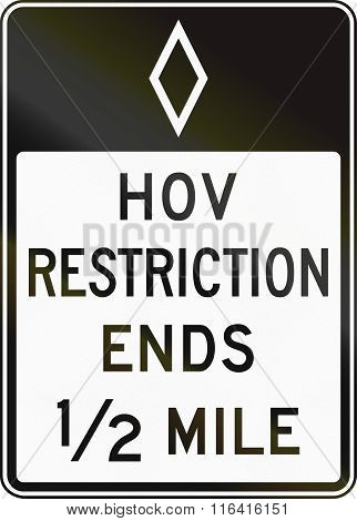 United States Mutcd Regulatory Road Sign - High Occupancy Vehicle Lane Ends