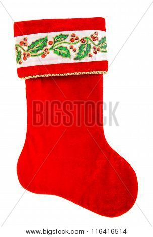 Christmas Stocking. Red Sock For Santa's Gifts Isolated On White