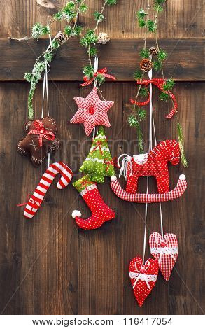 Christmas Decoration Over Rustic Wooden Background