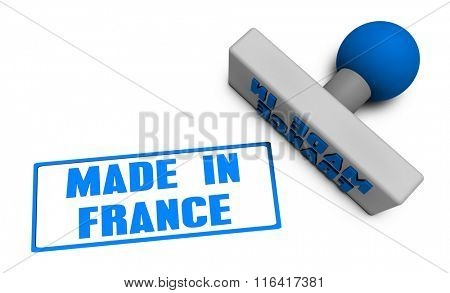 Made in France Stamp or Chop on Paper Concept in 3d