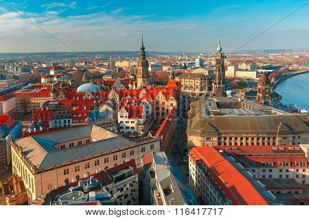 Aerial view of roofs Dresden, Germany