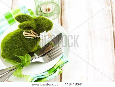 Easter Table Setting With Green Bunny Decoration