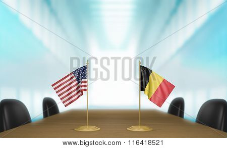 United States and Belgium relations and trade deal talks 3D rendering