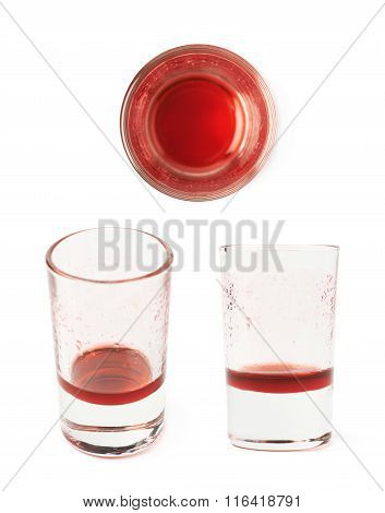 Glass shot with grenadine leftovers