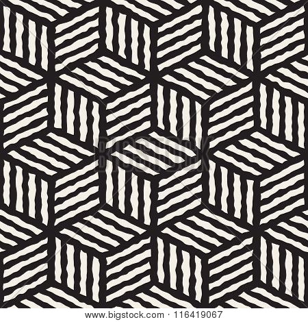 Vector Seamless Black And White Hand Painted Line Geometric Stripes Cube Pattern