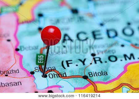 Ohrid pinned on a map of Macedonia