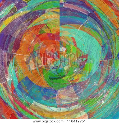 Retro spherical background with old grunge texture. With different color patterns: yellow (beige); red (orange); purple (violet); blue; green