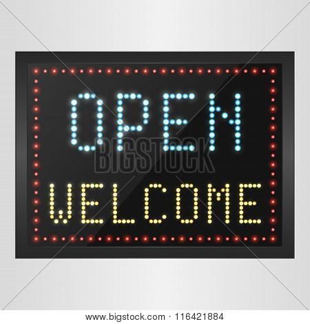 Open and welcome neon sign background