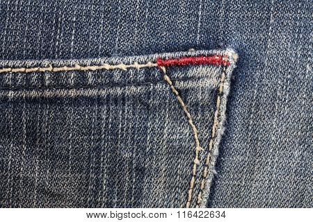 Blue jeans sewing line