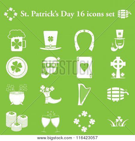 St Patricks Day simple icons set