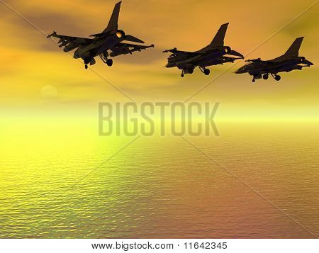 Three F-16 Fighter Jets Over The Ocean