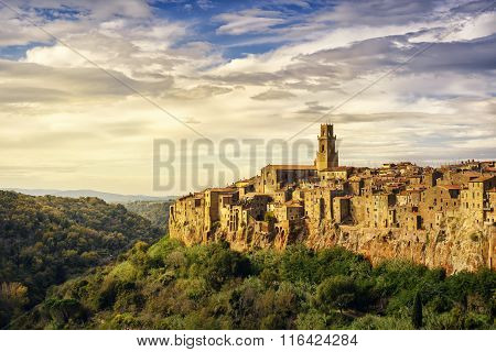 Tuscany, Pitigliano Medieval Village Panorama Landscape. Italy